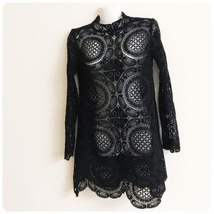 Free People black crochet high neck dress XS